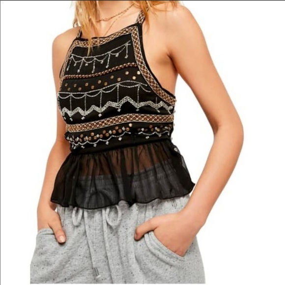 Free People • Camille Embossed Beaded Camisole
